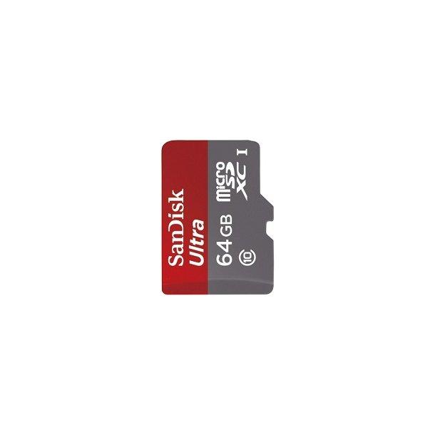 64 GB Micro SD Kort (C10) - SanDisk Ultra (533x / 80 MB/s)