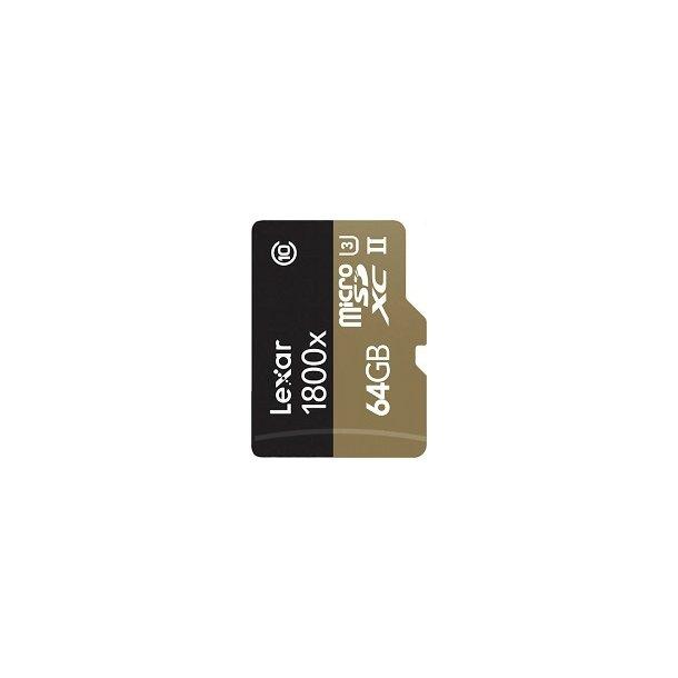 64 GB Micro SD Kort (C10) - Lexar (1800x / 270 MB/s)