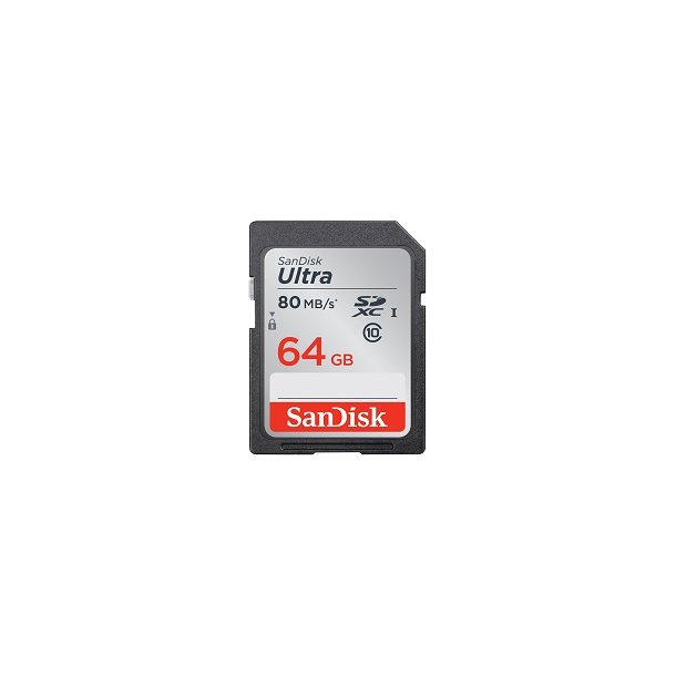 64 GB SD Kort (C10) - SanDisk Ultra (633x / 80 MB/s)