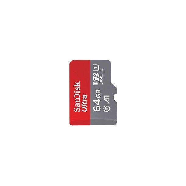 64 GB Micro SD Kort (C10) - SanDisk Ultra (653x / 98 MB/s)