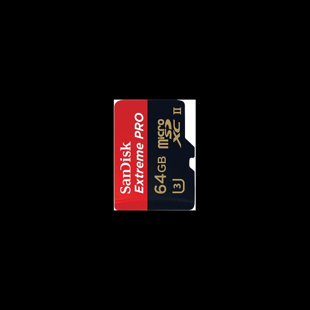 64 GB Micro SD Kort (C10) - SanDisk Extreme Pro (1833x / 275 MB/s)