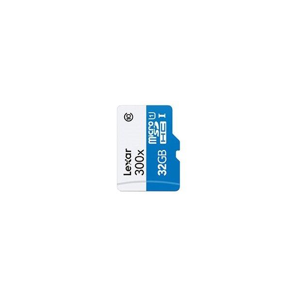 32 GB Micro SD Kort (C10) - Lexar (300x / 45 MB/s)