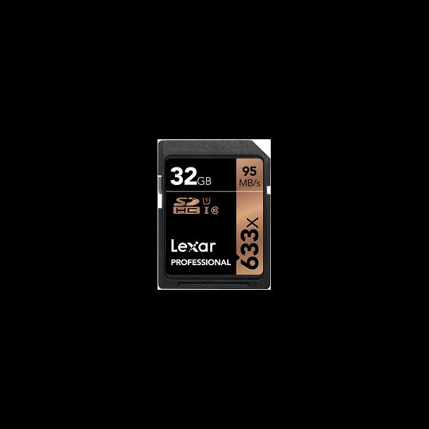 32 GB SD Kort (C10) - Lexar (633x / 95 MB/s)