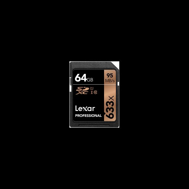 64 GB SD Kort (C10) - Lexar (633x / 95 MB/s)