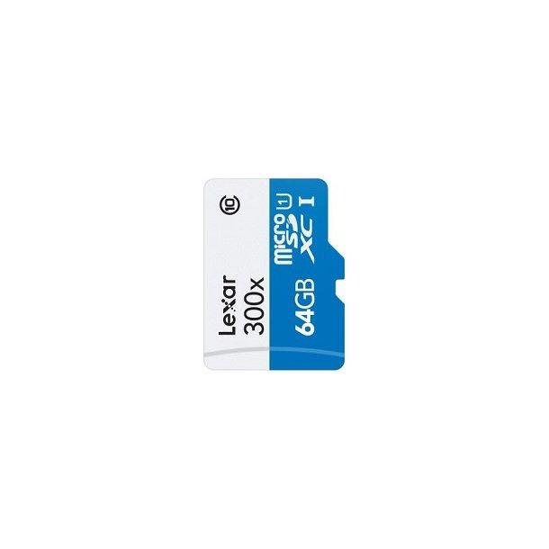 64 GB Micro SD Kort (C10) - Lexar (300x / 45 MB/s)
